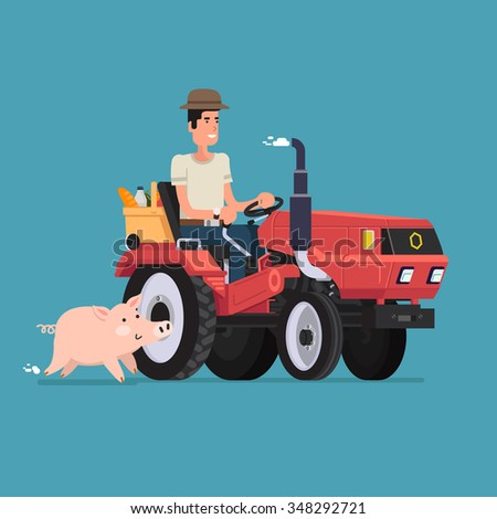 Farmer on tractor and cute pig. Vector Illustration. Flat design. - stock vector