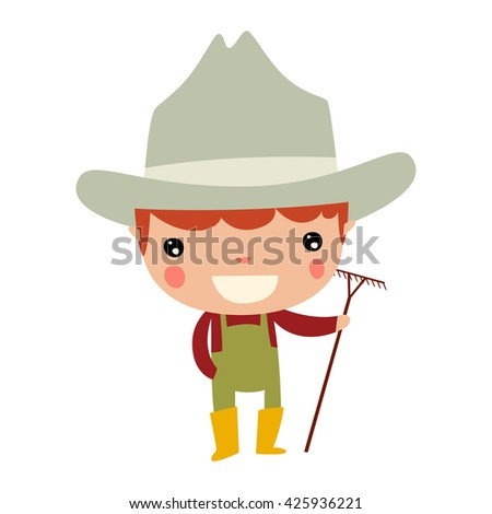 farmer profession boy - stock vector
