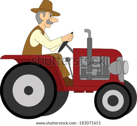 Farmer Riding a Tractor - stock vector