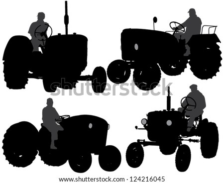 Farmer Tractor Silhouette on white background - stock vector