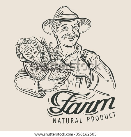 farmer with a basket of fresh vegetables. vector illustration - stock vector