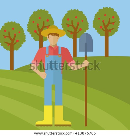 Farmer with a shovel in an orchard vector illustration - stock vector
