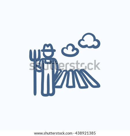Farmer with pitchfork at field sketch icon for web, mobile and infographics. Hand drawn farmer icon. Farmer vector icon. Farmer icon isolated on white background. - stock vector