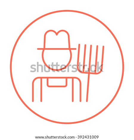 Farmer with pitchfork line icon. - stock vector