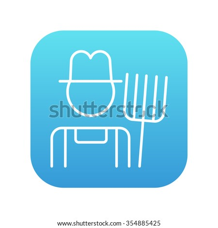 Farmer with pitchfork line icon for web, mobile and infographics. Vector white icon on the blue gradient square with rounded corners isolated on white background. - stock vector