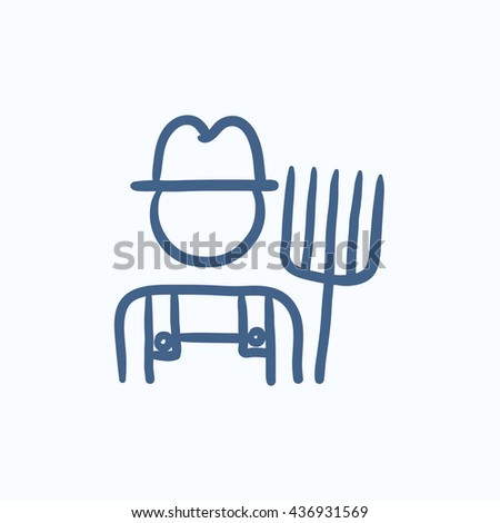 Farmer with pitchfork vector sketch icon isolated on background. Hand drawn Farmer with pitchfork icon. Farmer with pitchfork sketch icon for infographic, website or app. - stock vector