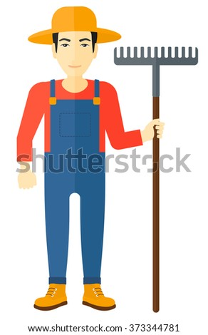 Farmer with rake. - stock vector