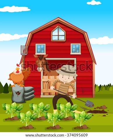 Farmer working on the farm illustration - stock vector