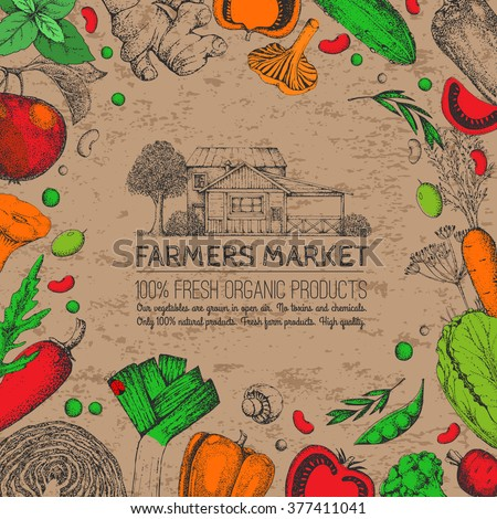 Farmers food design template. Vintage farm logo and vegetables. Labels and design elements. Tree, veggies, house. Logotype. Hand drawn illustration. Farmers market. Isolated elements for easy use.