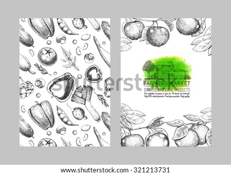 Farmers food design template. Vintage farm logo and vegetables. Tree, veggies, house.  Black and white. Hand drawn illustration. Farmers market. Watercolor stain. Isolated elements for easy use.
