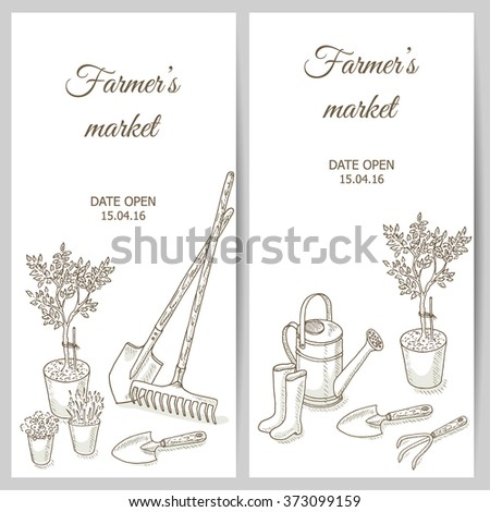 Farmers market flyer. Garden equipment. Farm shop background with gardening tools, seedlings and flower. Gardening and farming template. Agriculture hand drawn vector illustrations. Horticulture - stock vector