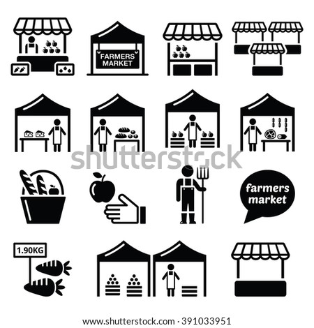 Farmers market, food market with fresh local produce icons set - stock vector