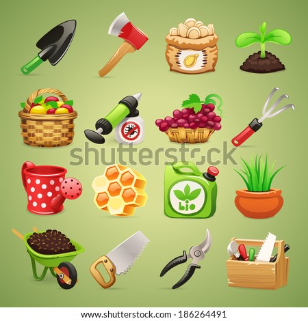 Farmers Tools Icons Set1.1 In the EPS file, each element is grouped separately. - stock vector
