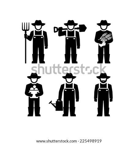 Farmers Vector Figure Pictogram  - stock vector