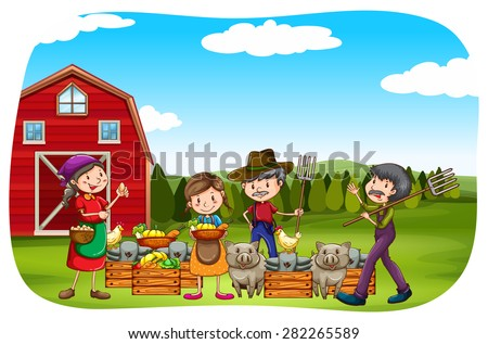 Farmers working in the field  - stock vector