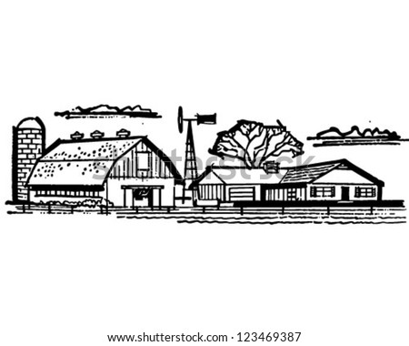 Farmhouse Barn Retro Clipart Illustration Stock Vector Royalty Free
