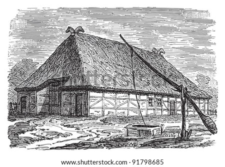 Farmhouse (Schleswig-Holstein) / illustration from Meyers Konversations-Lexikon 1897 - stock vector