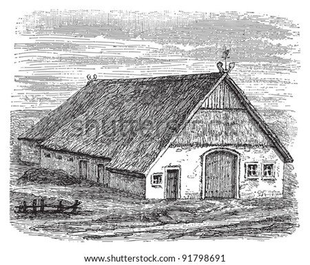Farmhouse (Wendisch) / illustration from Meyers Konversations-Lexikon 1897 - stock vector