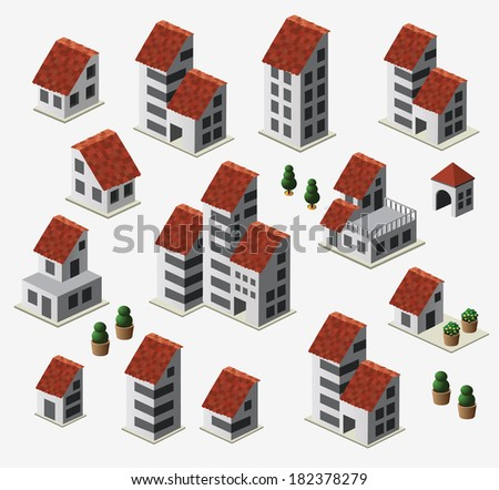 Farmhouses set isolated on background - stock vector