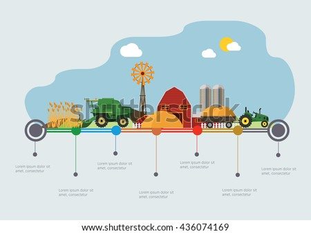 Farming agriculture infographic. Flat vector illustration.