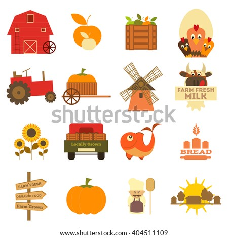 Farming and Agriculture Icons Set Isolated on White Background. Vector Illustration. - stock vector
