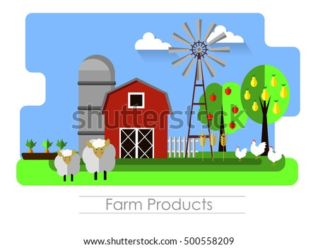 Farming background with barn