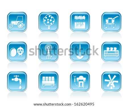 farming industry and farming tools icons - vector icon set - stock vector