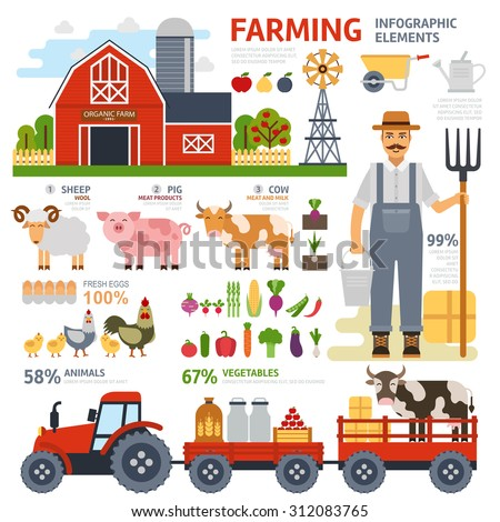 Farming infographic elements with farmer, farm, windmill, garden, tractor, animals, vegetables, fruits, harvest, hay, tools. Flat design. Vector illustration - stock vector
