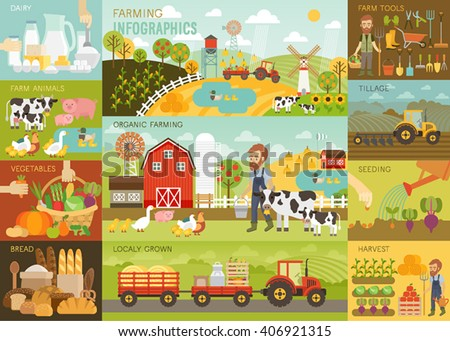 Farming Infographic set with animals, equipment and other objects. Vector illustration. - stock vector
