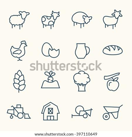 Farming line icons - stock vector