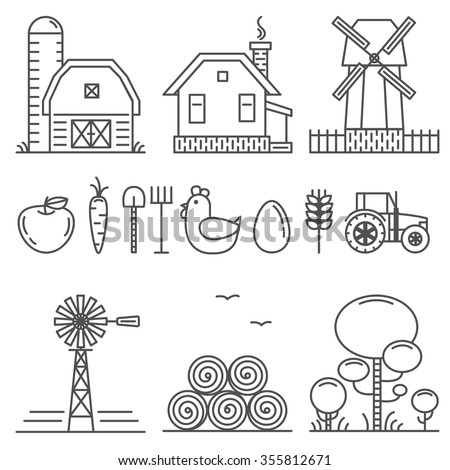 Farming Outline Icons Set - stock vector