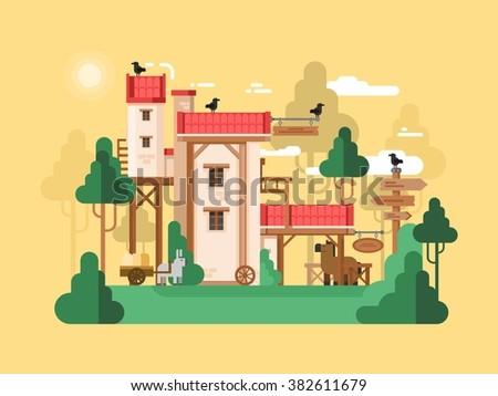 Farmland real estate design flat - stock vector