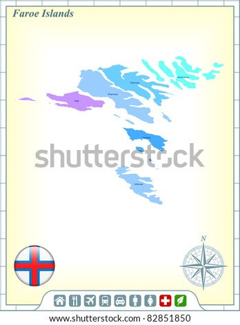 Faroe Islands Map with Flag Buttons and Assistance & Activates Icons Original Illustration - stock vector
