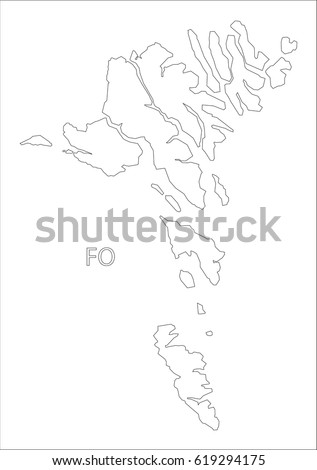 Faroe Islands outline silhouette map illustration