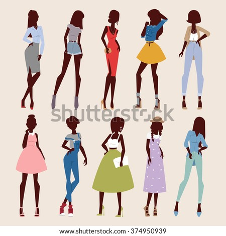 Fashion abstract vector girls look. Fashion woman looks portrait. Beautiful sexy stylish girl or young woman vector cartoon style illustration. Fashion model girls - stock vector