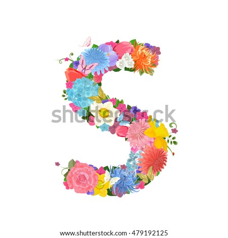 Fashion alphabet from lovely flowers of daffodils, roses, tulips, lily of the valley, crocus, chrysanthemums, hortensia, lilac. Romantic letter S