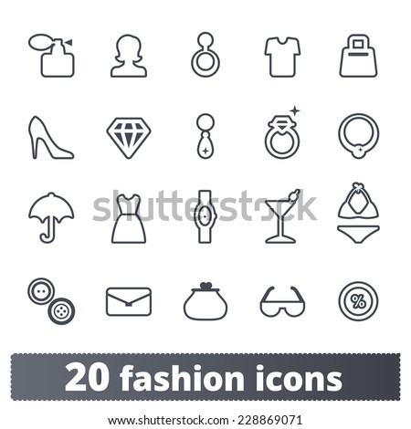 Fashion and accessories icons: shopping vector set - stock vector
