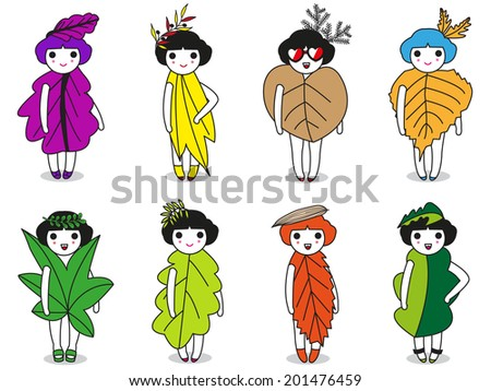 Fashion and Leaves character illustration set - stock vector