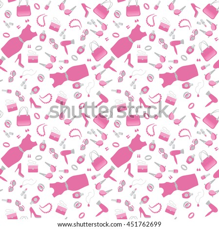 Fashion and shopping accessories icon pink pattern on white background