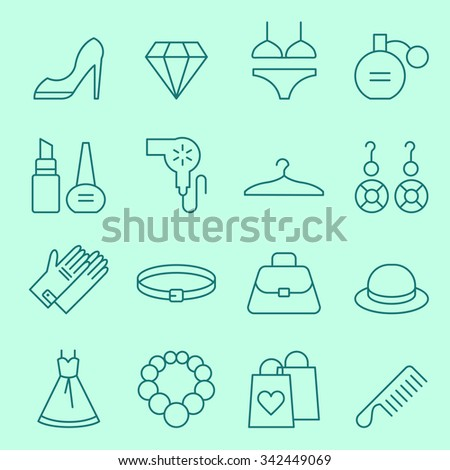 Fashion and women accessories icons, thin line design - stock vector
