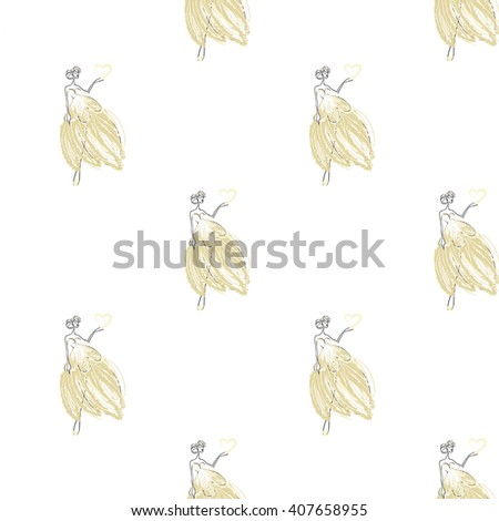 Fashion attractive fashion wedding background with bride. Beautiful hand drawn sketch on white background. Fashion, style, beauty, advertising greeting card, banner, design - stock vector