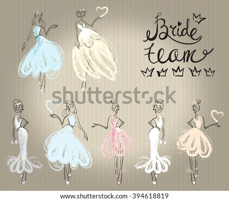 Fashion attractive wedding greeting card with here comes the bride model pose, bridesmaid. Beautiful hand drawn sketch on vintage background. Fashion style, beauty invitation card, banner, design - stock vector