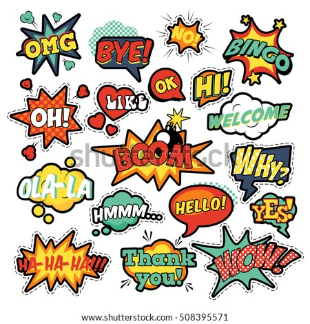 Fashion badges patches stickers in pop art comic speech bubbles set with halftone dotted