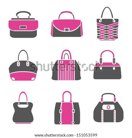 fashion bag icons set - stock vector