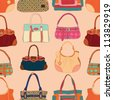 fashion bags seamless pattern - stock vector
