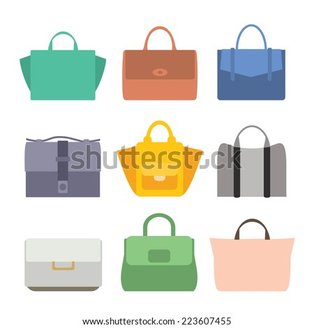 Fashion Bags set Silhouette Isolated.  Vintage vector illustration. Flat design - stock vector