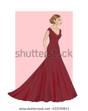 Fashion beautiful  brunette woman with closed eyes in stylish red evening dress,vector - stock vector