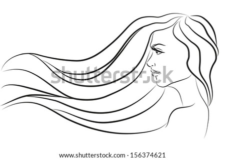 Fashion beautiful woman with long wavy hair. Beautiful woman face vector illustration.  Simple line illustration of beautiful women suitable for hair care or beauty salon. - stock vector