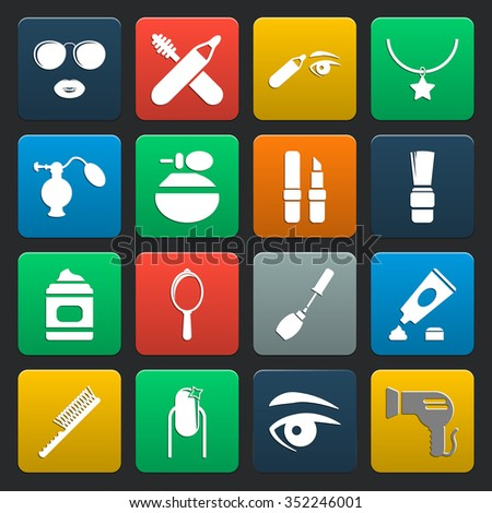 fashion, beauty 16 icons universal set for web and mobile flat