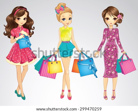 Fashion beauty shopping girls - stock vector